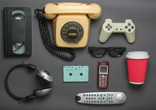 Retro objects on gray background stock photo
