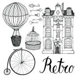 Retro objects, house and transport. Hand drawing and calligraphy Stock Photos