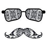 Retro occhiali da sole dei pantaloni a vita bassa, stampa per la maglietta, carta immagine stock libera da diritti