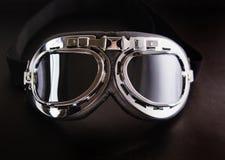 Retro occhiali di protezione della motocicletta dell'annata fotografia stock