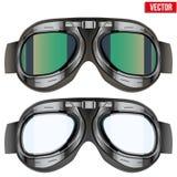 Retro occhiali di protezione di vetro del pilota dell'aviatore isolato sopra Fotografia Stock