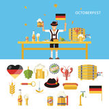 Retro Octoberfest Symbols Beer Alcohol Accessories Royalty Free Stock Image
