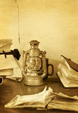 Retro office. Grunge (old paper overlay) sepia retro office desk Stock Photography