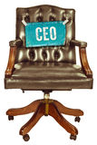Retro office chair with CEO sign isolated on white Stock Photo