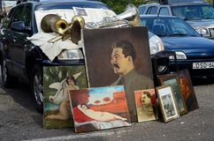 Retro oil paintings of Soviet period representing Stalin,Tbilisi flea market Stock Images