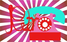 Retro, old, antique, hipster, vintage, ancient, disk, pink phone with a tube with a retro inscription written in beautiful red let stock illustration