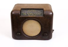 Retro old brown radio isolated Royalty Free Stock Images