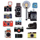 Retro old cameras and symbols for photographers. Vector flat pictures stock illustration