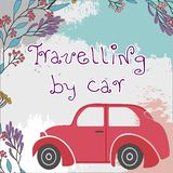 Retro old car on an orange background with floral motifs on a path. Travel by car stock illustration