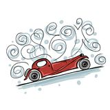 Retro old car sketch for your design Stock Photography