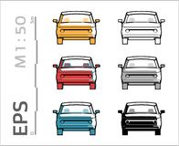 Retro old car vector icons set for architectural drawing and illustation stock illustration