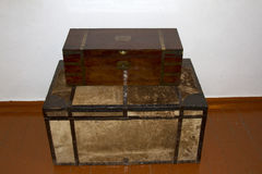 Retro old chests  for traveling 19th century.  Royalty Free Stock Photography