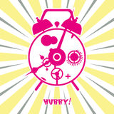 Retro old clock. Vector illustration retro old clock ringing in the morning Stock Photography