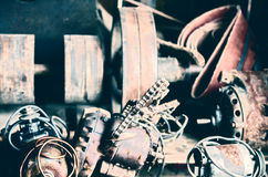 Retro Old Electric Motors in a Workshop Royalty Free Stock Photos