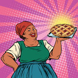 Retro old female African-American berry pie Royalty Free Stock Photos