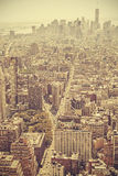 Retro old film style picture of Manhattan, NYC. Royalty Free Stock Photo
