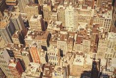 Retro old film style roofs of Manhattan. Stock Photo