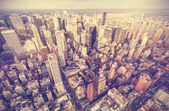 Retro old film stylized aerial picture of New York City. Royalty Free Stock Photo