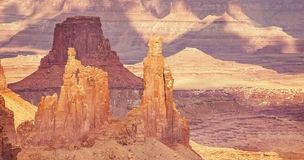 Retro old film stylized rock formations in Canyonlands National Stock Photography