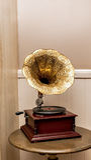 Retro old gramophone with horn speaker Stock Photo