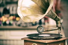 Retro old gramophone radio. Vintage style toned photo.  Royalty Free Stock Images