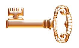 Retro old key isolated on white background Royalty Free Stock Photography