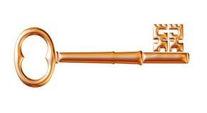 Retro old key isolated on white background Royalty Free Stock Images