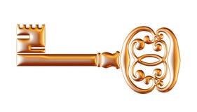 Retro old key isolated on white background Royalty Free Stock Photo