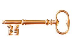 Retro old key isolated on white background Royalty Free Stock Image
