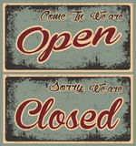 Retro Old Open and Closed Banners in Grunge Royalty Free Stock Photography