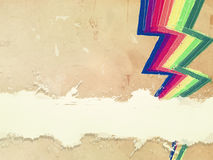 Retro old paper with drawn rainbow zigzag lines and text space Royalty Free Stock Photos