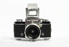 Retro old photo camera view from the front Royalty Free Stock Photos