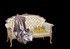 Retro old renaissance georgian elizabethan king queen chair swag crown gold golden seat chaise lounge longue png copy negative