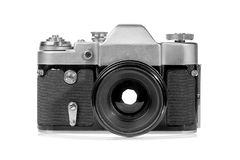 Retro old silver film photo camera isolated on white background.  stock image