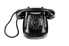 Retro old telephone with rotary dial isolated Stock Image
