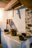 Retro old-time kitchen. Large brick oven for cooking stock photo