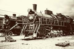 Retro old train locomotives Royalty Free Stock Photography