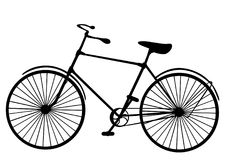 Retro old victorian bicycle silhouette isolated on white backgro Stock Image