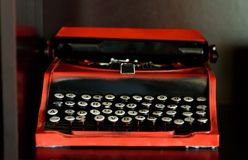 Retro old vinage typewriter with round keys, front view royalty free stock photo
