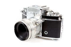Retro old vintage analog photo camera on white Royalty Free Stock Photography