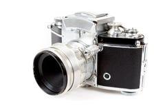 Retro old vintage analog photo camera on white Royalty Free Stock Photography