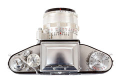 Retro old vintage analog photo camera on white Royalty Free Stock Image