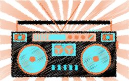 Retro, old, vintage, hipster, musical, cassette audio recorder. Boombox painted with dashed lines against the background of the ra. Ys. Vector illustration Stock Images