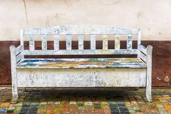 Old white wooden bench royalty free stock photo