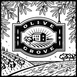 Retro Olive Grove black and white. Retro landscape with Olive Grove sign in woodcut style. Black and white vector illustration with clipping mask Royalty Free Stock Photography