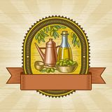 Retro olive harvest label Royalty Free Stock Photos