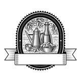 Retro olive harvest label black and white Royalty Free Stock Image