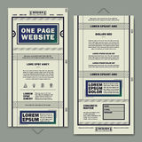 Retro one page website template design Royalty Free Stock Image