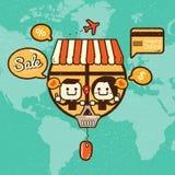 Retro online-shopping Arkivbilder