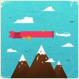 Retro Ontwerp van de Affiche met wolken. vector illustratie